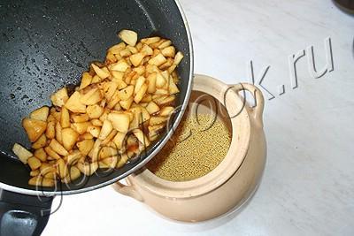 пшенная каша с карамельными яблоками