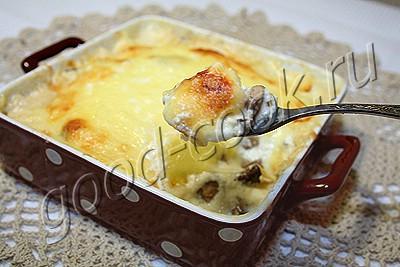 шампиньоны, запеченные в сметане с сыром