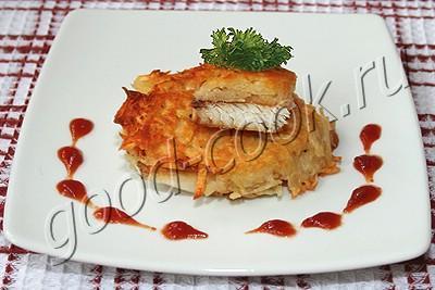 двухслойные котлеты из картофеля и рыбы