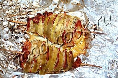 шашлыки из баклажанов с беконом