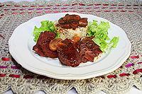 говядина с грибами, тушеная в соевом соусе