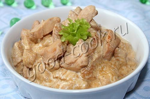 курица тушеная в соево-сливочном соусе