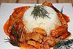 мясо тушёное с соусом Ткемали