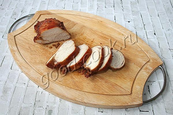 куриное филе тушёное в карамельно-соевом соусе
