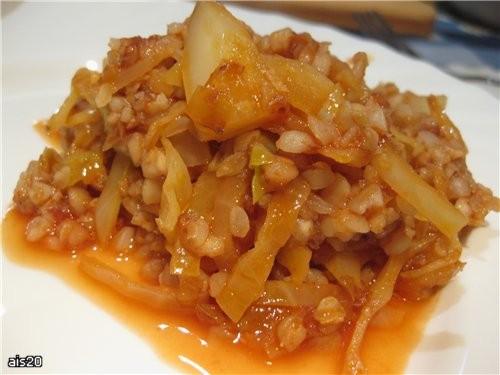 Гречка с капустой Ингредиенты: - 300 г белокачанной капусты - 2 средние луковицы - 1 зубчик чеснока...