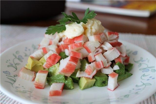Рецепт салат с авокадо и крабовыми палочками с