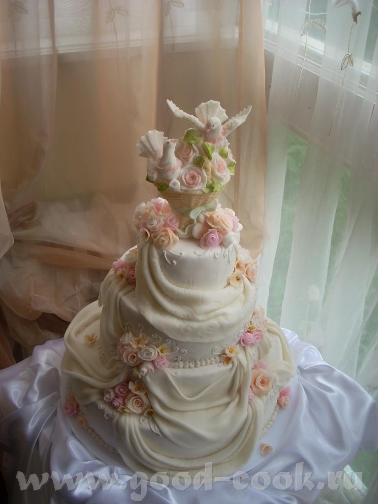 Свадебный торт с голубями фото