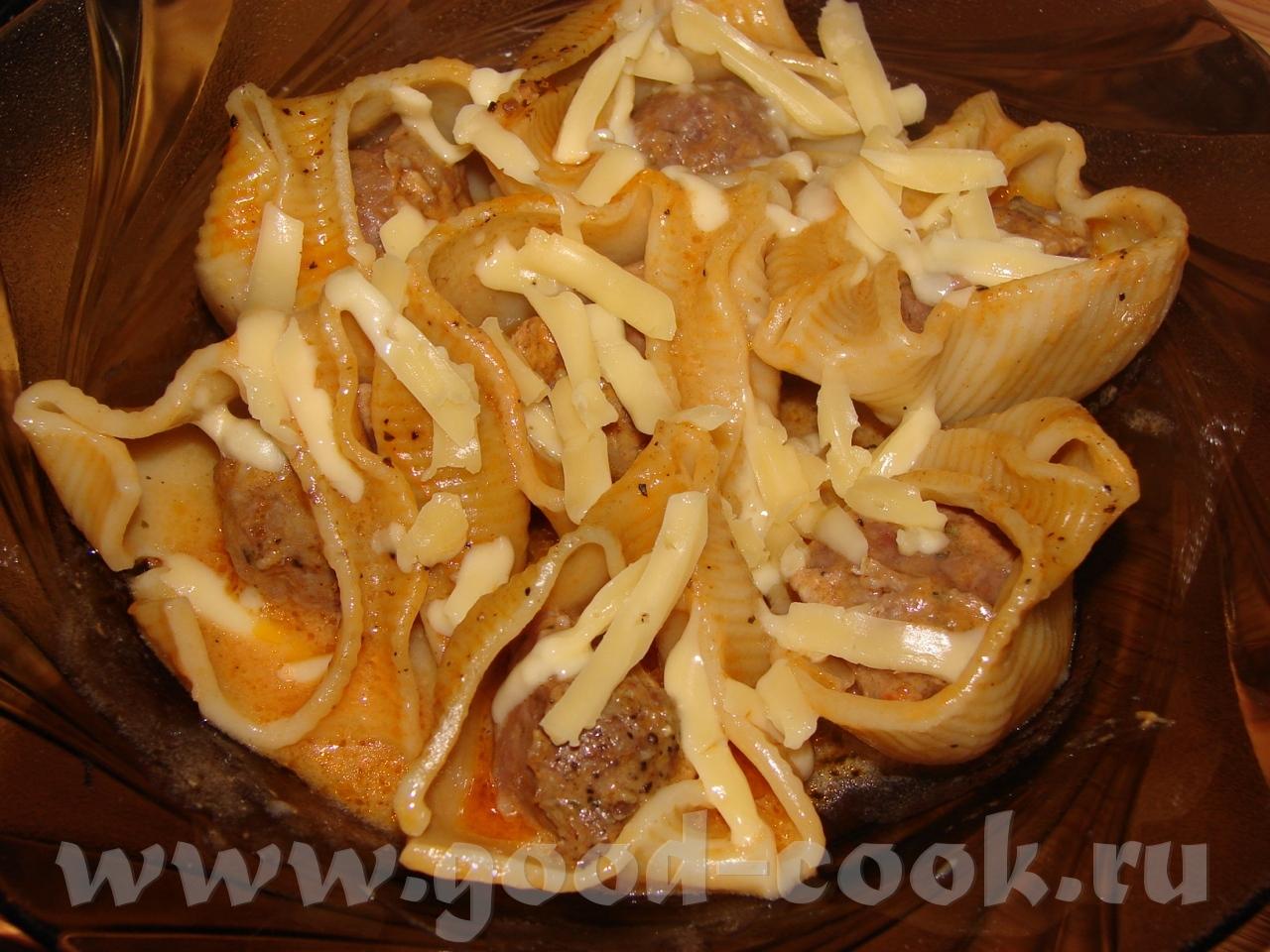 Макароны фаршированные фаршем в духовке со сливками пошаговый рецепт