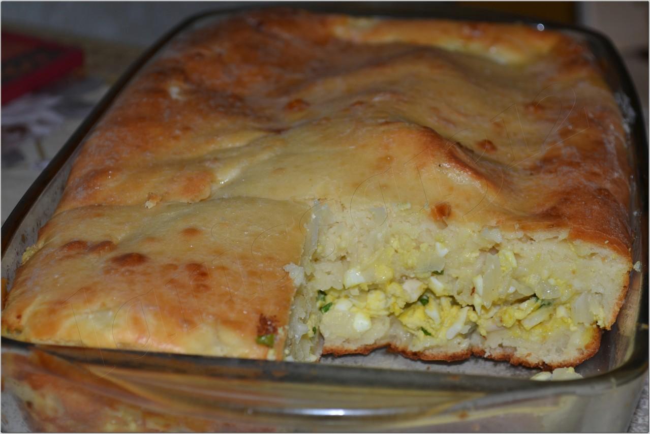 Заливной пирог с капустой и яйцами фото рецепт пошагово