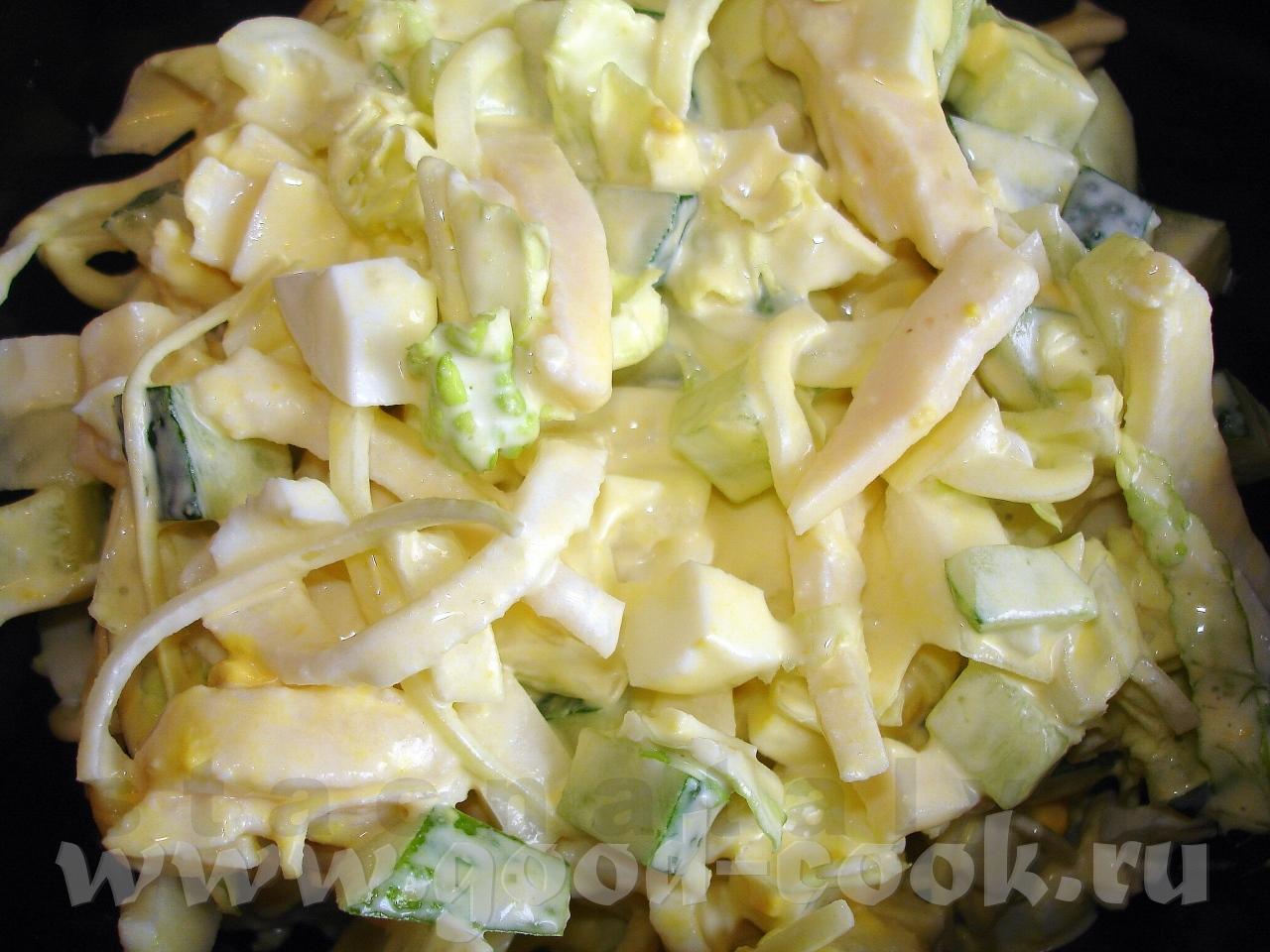 Салат с кальмаром и кукурузой рецепт пошагово в