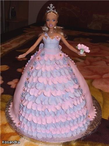 Торт кукла Барби, сделает день рожденье вашей малышки. в виде прямоугольника вторую часть мастики, предназначенную...