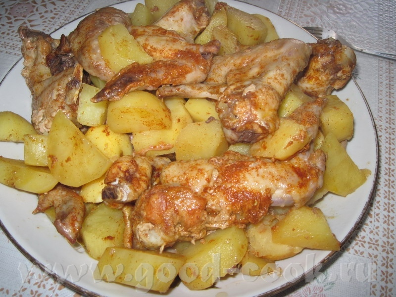 Как сделать курица в духовке с картошкой