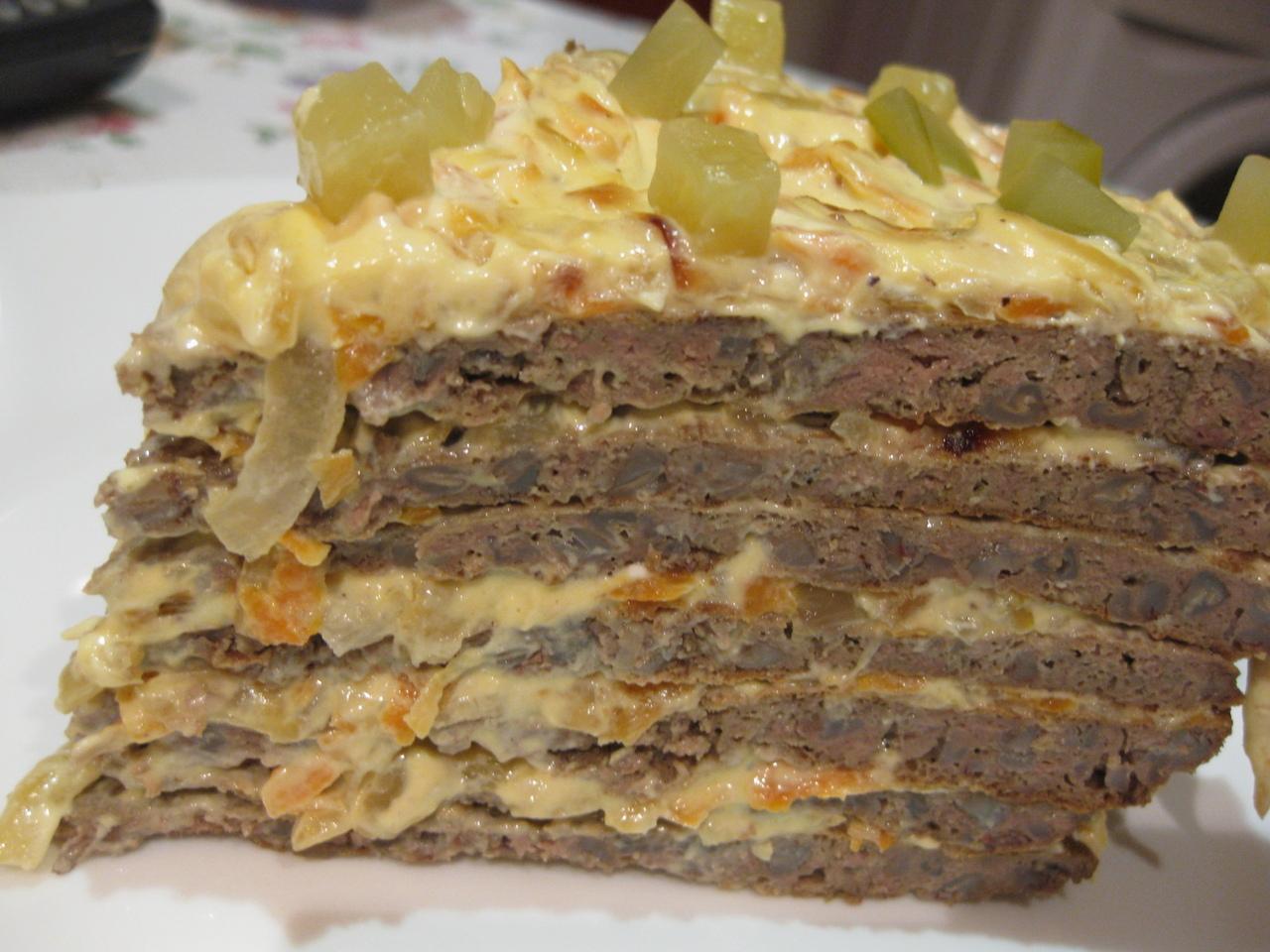 Как сделать печёночный торт фото