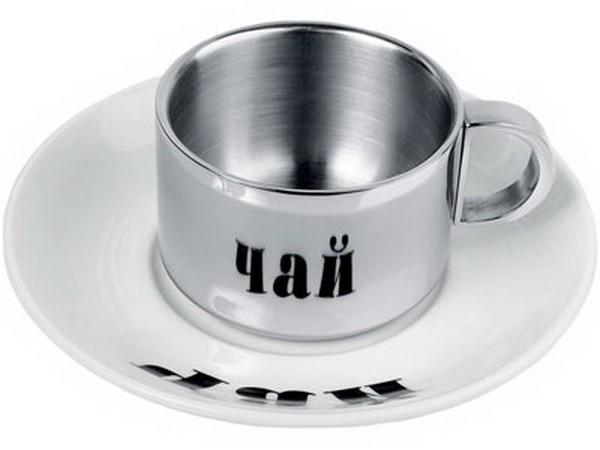 """Чашка металлическая с керамическим блюдцем  """"Чай """".  Надпись на блюдце читается только в..."""