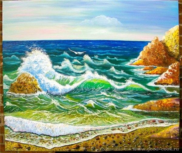 Теперь поняла как могу назвать вот это - абстрактное море (получилось что-то, что вытирать не хочется, но реальность... - 2