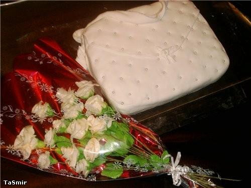 Торт Сумка с букетом роз - 2