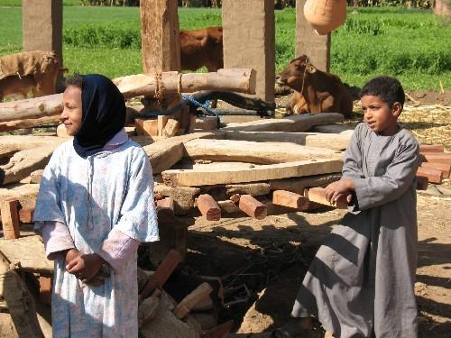 Дети в деревне Нил, а на противоположном берегу все захоронения, храм Хатшепсут и т