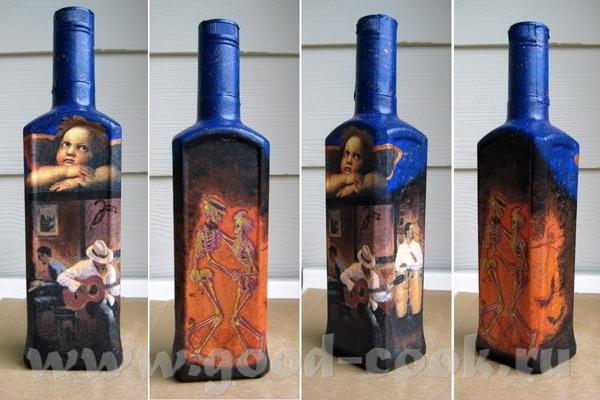 """Стеклянная бутылка """"Все любят джаз"""" (перцовка Немирофф), акрил, яичный белок (как клей) , фрагменты..."""