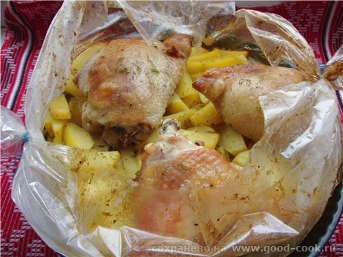 13/100 рецептов из курицы Курица в рукаве рукав для запекания 3 куриных бедрышка 2 больших картофел... - 3