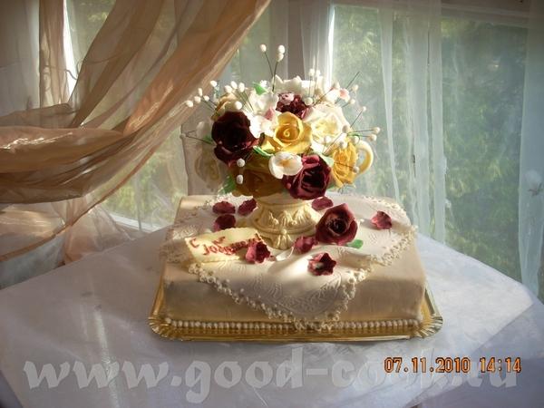 Юбилейный торт Ваза с цветами - 2