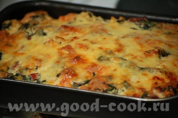 """Вкусная и быстрая запеканка, ингредиенты можно менять, """"утилизируя"""" запасы из холодильника"""