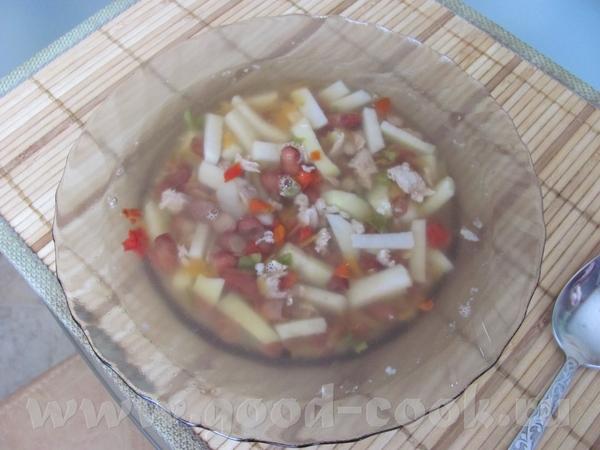Суп с фасолью Куриные отбивные в сухарях и салат из овощей Приятного аппетита