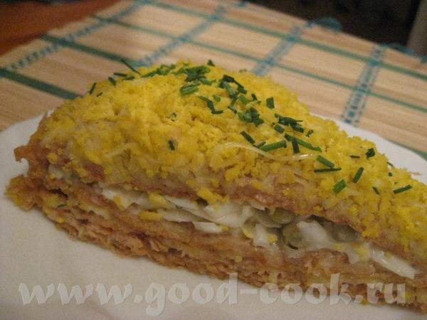 Закусочный торт «Мимоза» с вафельными коржами В упаковке 4 коржа: 1й корж - майонез и лосось консер... - 2