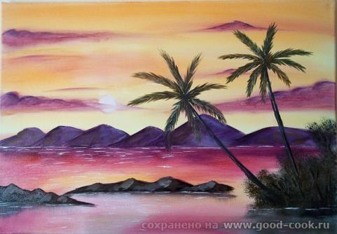 Розовый закат Пальмы Осень - 2