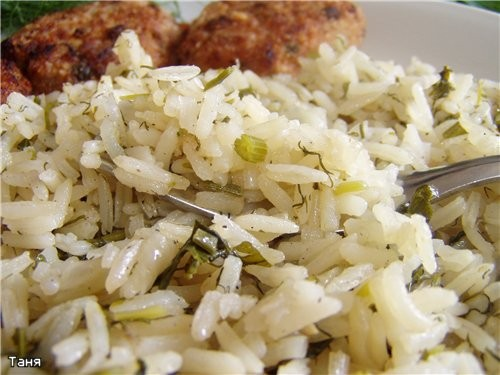 Отварной рис с зеленью или бахш вегетарианский