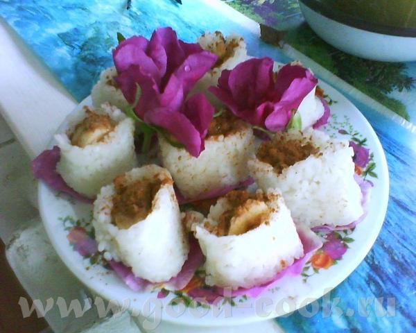 Рисовые роллы с бананом Вариант для момента, когда в холодильнике гуляет перекати-поле, а хочется с...