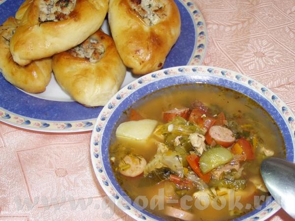 Суп-солянка(упрощенный вариант) Такой суп готовлю часто,рецепт уже есть здесь и еще подобный здесь...