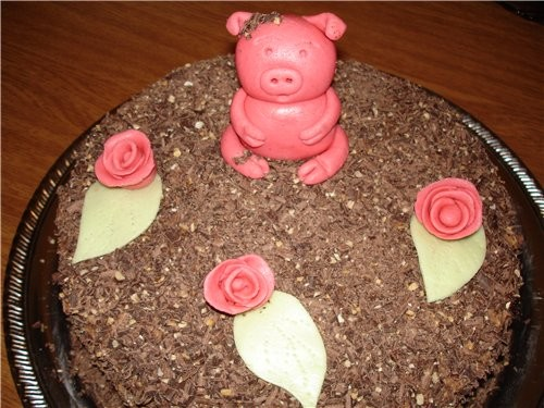 Девочки, опять я пришла вас перед сном пугать Только что сделала торт, ну этоже не свинья получилас...