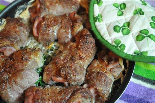 Rollitas de lomo de cerdo asadas con nata Свиные рулетики запеченые в сливках от Спасибо, очень вку...