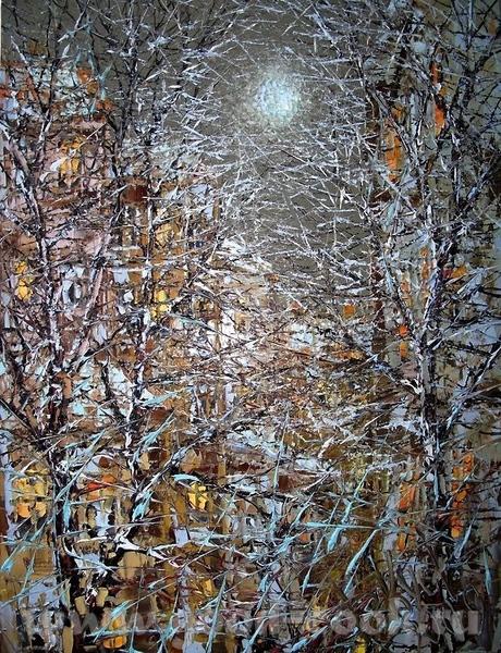Очень хорошая идея, красиво и интересно Посмотрите какая интересная зима у художника Дмитрия Кустан...