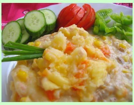 ЗАПЕКАНКА С КОНСЕРВИРОВАННЫМ ТУНЦОМ 5-6 средних картофелин 2 столовые ложки сливочного масла или ма...