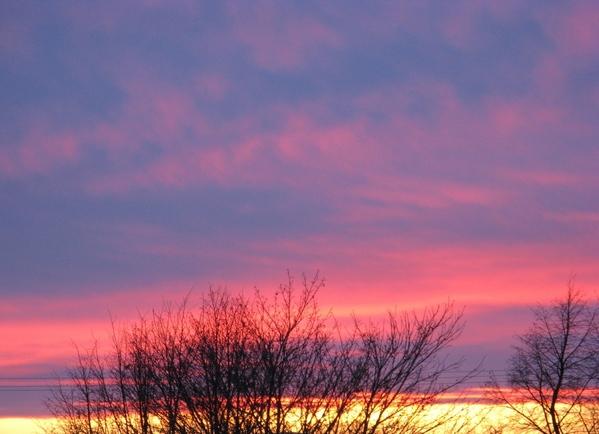 снежинки на окне Просто зимний пейзаж пурпурный закат - 5