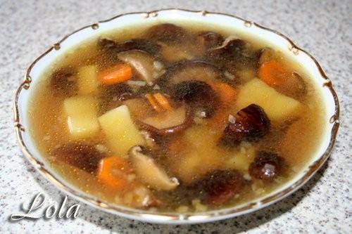 - Суп из грибов шиитаки - грибы шиитаки - хорошая горсть сухих грибов шиитаки - луковица - морковь... - 2