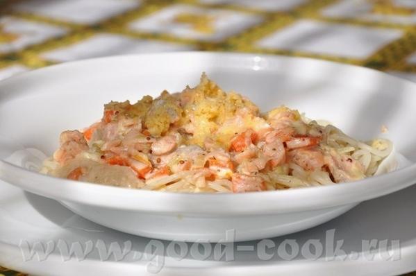 Паста в горчично-сливочном соусе с лососем