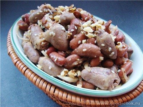 10/100 рецептов из курицы Салат из куриных сердечек с фасолью и грецкими орехами 500 грамм куриных... - 2