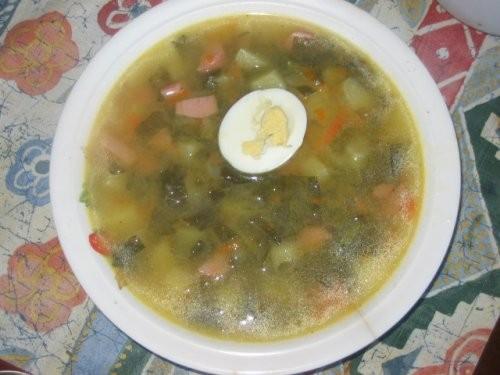 яичница салатик гриль колбаски ещё один салатик щи со щавелем(как с капустой только вместо капусты... - 5