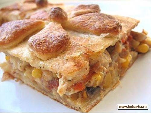 пирог с овощами,курицей и грибами