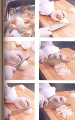 очистка и нарезание лука кубиками
