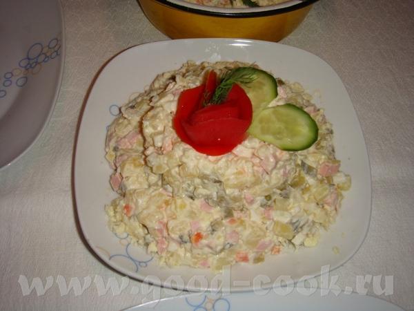 """селедка под шубой, с вот такой коровкой мимоза с горбушей крабовый салатик с грибами """"оливье"""" салат... - 4"""