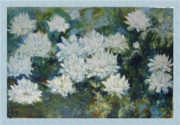 Цветы Холст 60*40 мастихин, масло Осень