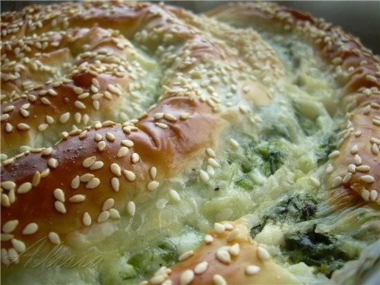 Крученый пирог с зеленью, козьим сыром и моццареллой * 1 пучок шпината 200 гр - 2