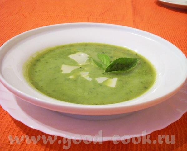 Суп-пюре из базилика с зеленым горошком Пряный суп с молодой капустой