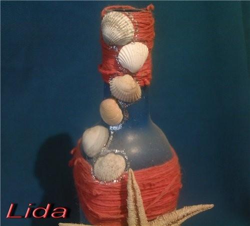Бутылка Морская Бутылка окрашена клей ПВА с добавлением школьных красок, нанесено тампоном в нескол... - 4