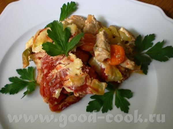 Gemьseauflauf mit Huhn Филе курицы, запечённое с овощами