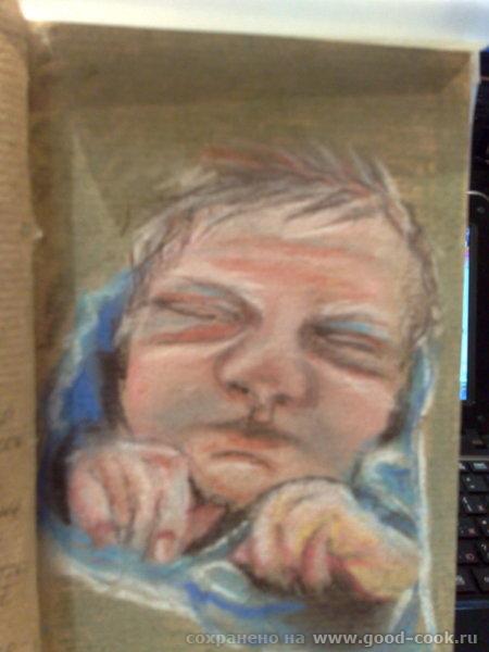 Это моя племяшка, только родилась, десять дней отроду, рисовала по памяти