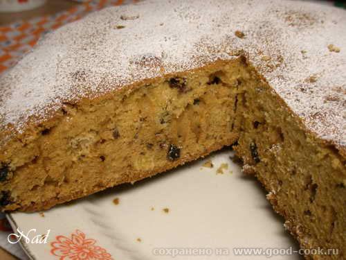 Пирог к чаю с черносливом, орехами и изюмом